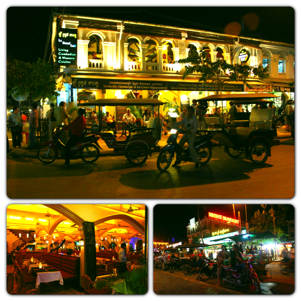 The night scene along Pub Street and the Siem Reap night market